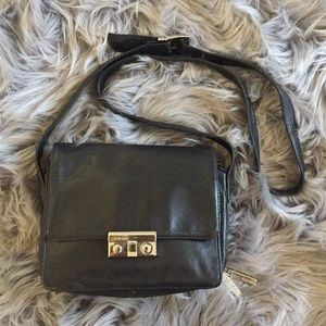 Perlina black leather organizer purse